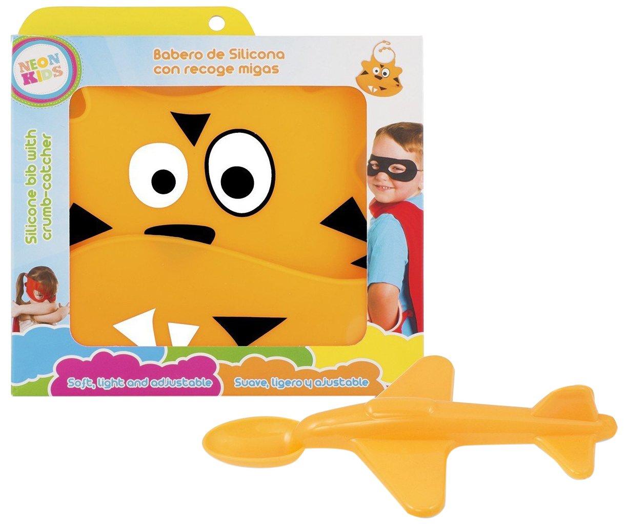 Neon Kids 4N-U9JB-7XCG Pack babero de silicona con recogemigas y cucharavi/ón color naranja