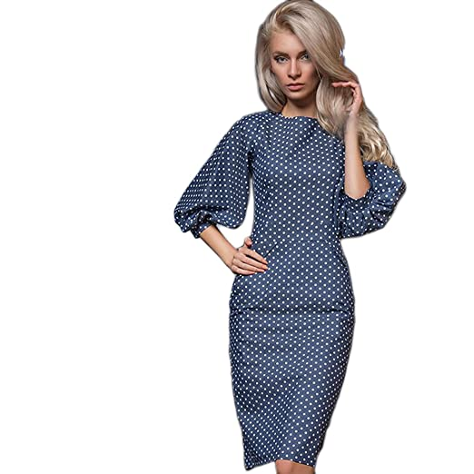 Daxin Womens Latern Sleeve Polka Dot Elegant Dress Evening Party Cocktail Dress