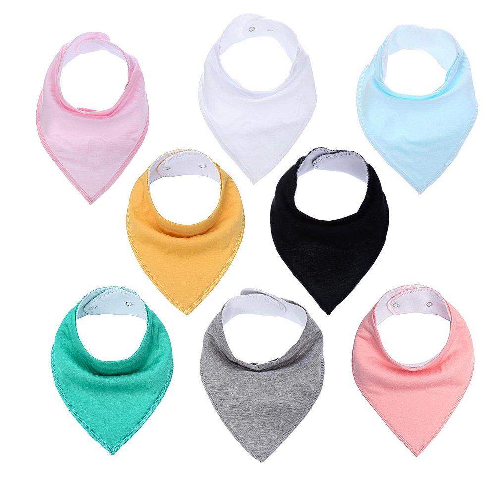 Baby Drool Bibs Bandana Teething Organic Cotton Adjustable Snap triangle Bib set Baby boys girls Shower Gift(Solid Color 8pcs)