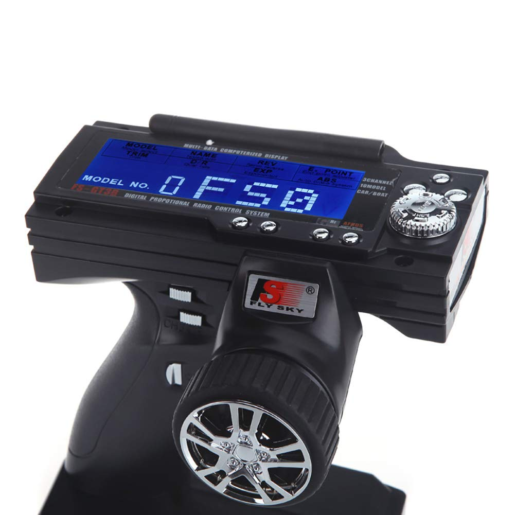 Dnasrivew FS-GT3B 2.4G 3CH Radio Remote Control LCD Transmitter Receiver for RC Car Boat 1