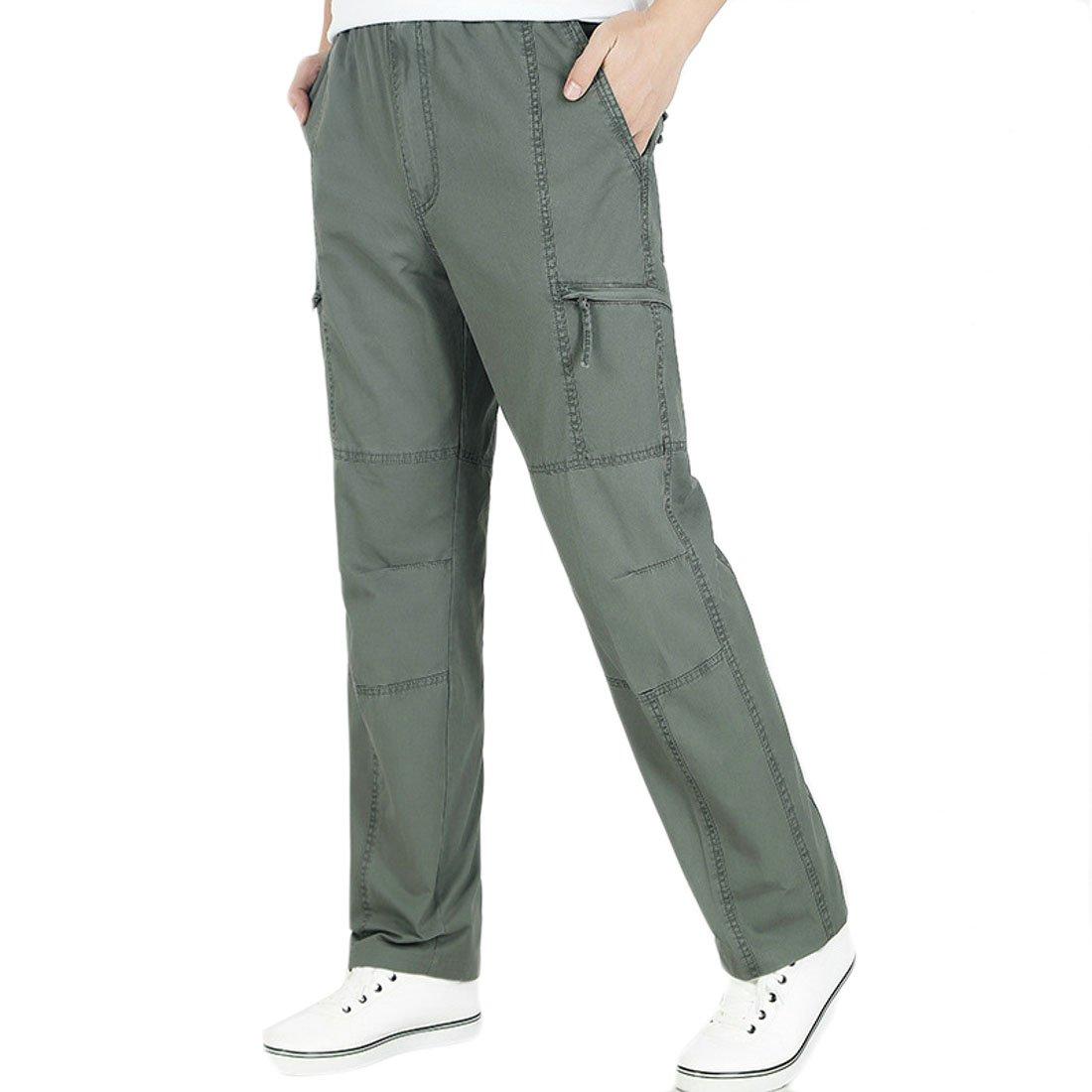 Jotebriyo Mens Multi-Pockets Plus Size Zip Up Casual Cotton Big /& Tall Rugged Cargo Pants