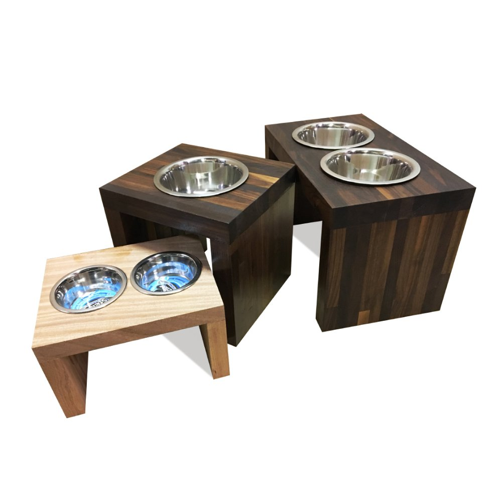 TFKitchen American Walnut Wood Elevated Dog and Cat Pet Feeder, Double Bowl Raised Stand (3 Quart Each) - 10'' Tall