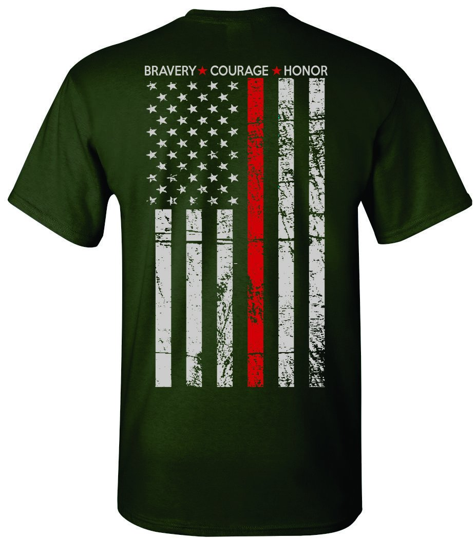Patriot Apparel Thin Red Line Firefighter T-Shirt Tee Hero Honor Short Sleeve Design (X-Large, Forest Green)