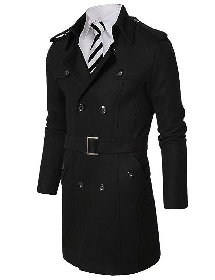 239776ede Doublju Mens Wool Long Coat with Belt