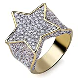 Jewelrysays Hip Hop CZ Jewelry Mens Fashion Zircon Pentagram Ring Gold Plated Dimond Rings Gifts