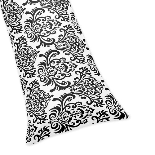 Sweet Jojo Designs Damask Full Length Double Zippered Body Pillow Cover for Black and White Isabella Bedding Set