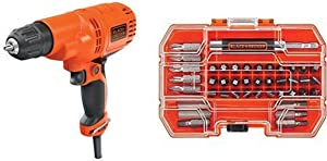 BLACK+DECKER DR260C 5.5 Amp 3/8'' Drill/Driver. with BLACK+DECKER BDA42SD 42-Piece Standard Screwdriver Bit Set