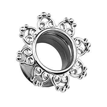 Piercingfaktor Flesh Tunnel Ear Plug Ohr Piercing Herzen Vintage Mandala  Sonne Edelstahl Silbern 3mm 698a81a43c