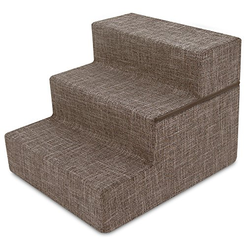 Stairs Pet Three Step (Best Pet Supplies 3-Step Foldable CertiPUR-US Certified Foam Pet Stairs/Steps, 21 x 16 x 16.5-Inch, Brown Linen)