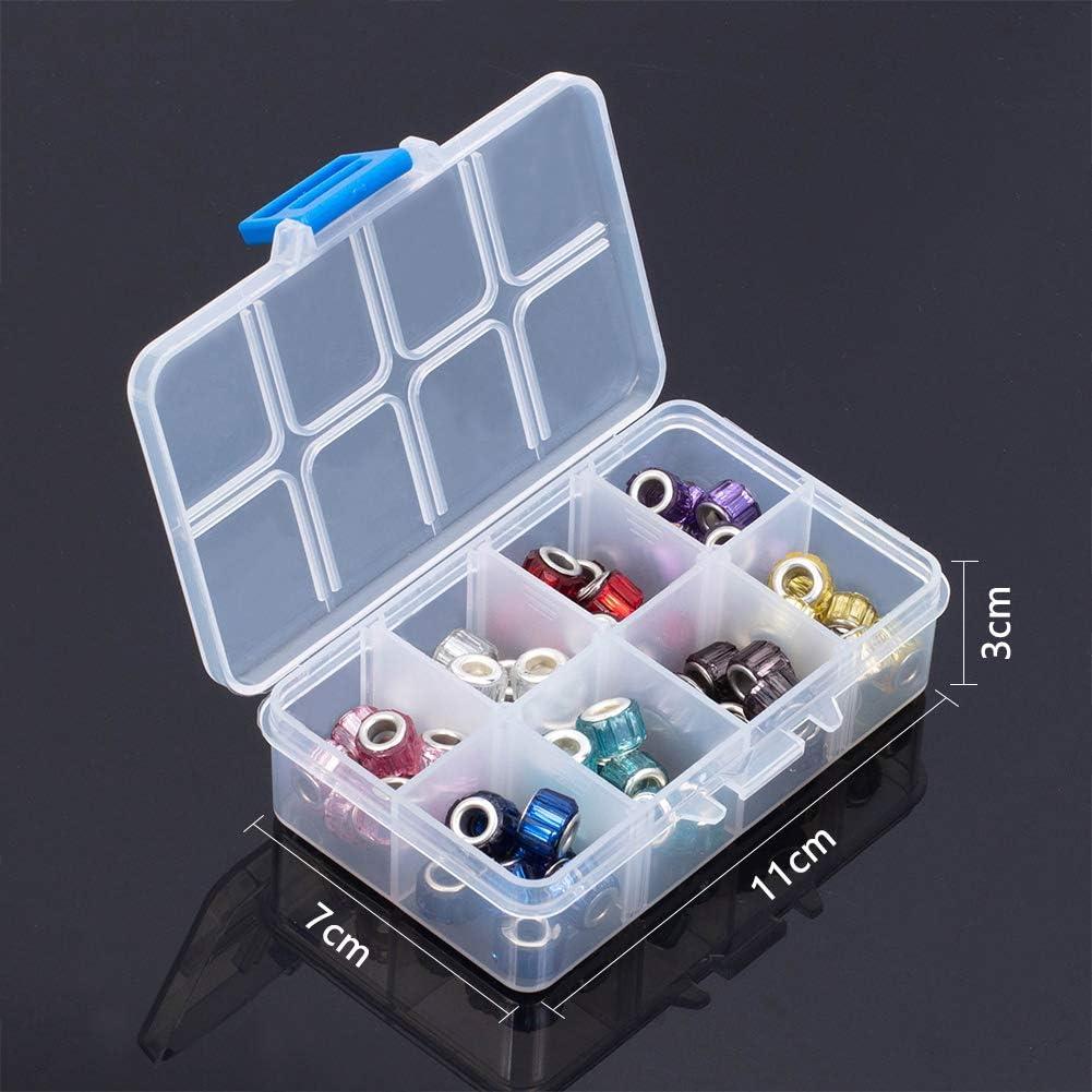 NBEADS Caja de 100 Cuentas de Cristal para Bisuter/ía con Agujeros Europeos Transparentes y Grandes Dos Tonos 14 x 11 mm