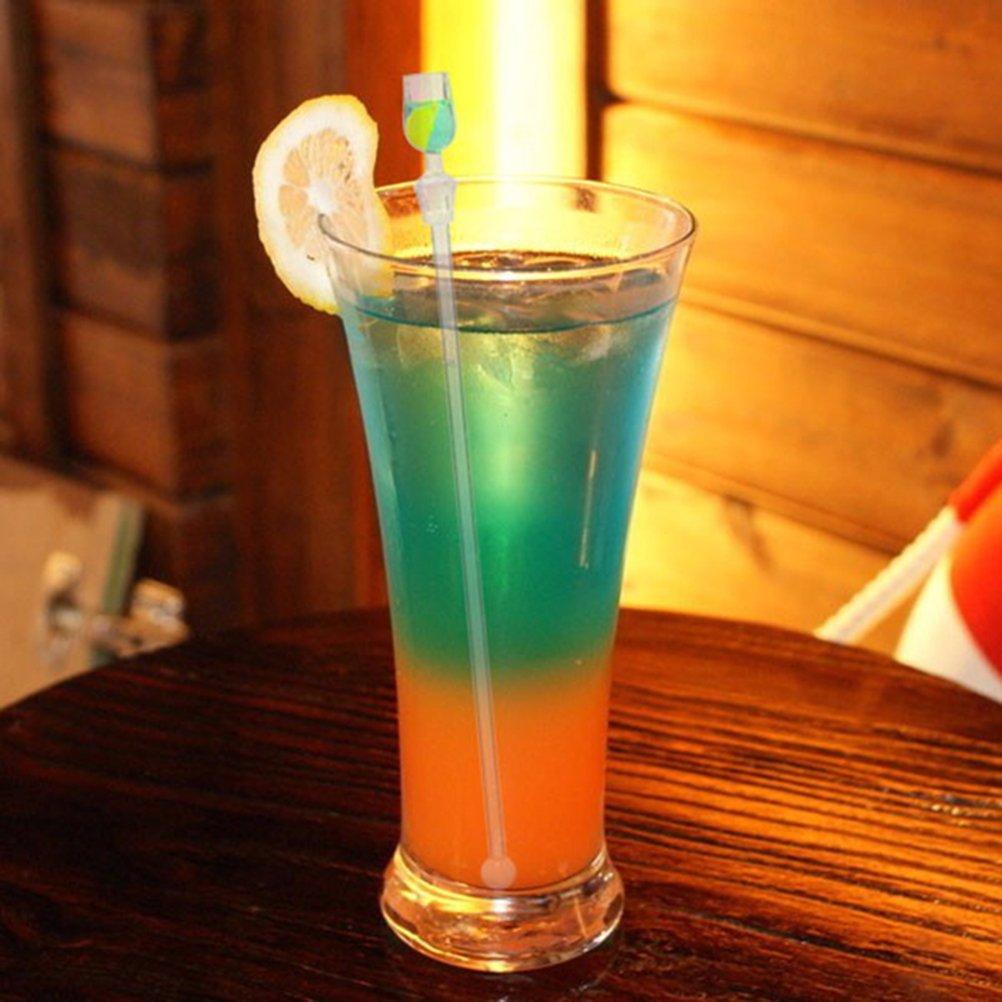 OUNONA Barra linda del mezclador de la bebida del coctel 10pcs que agita los palillos de mezcla con el accesorio miniatura colorido 23CM