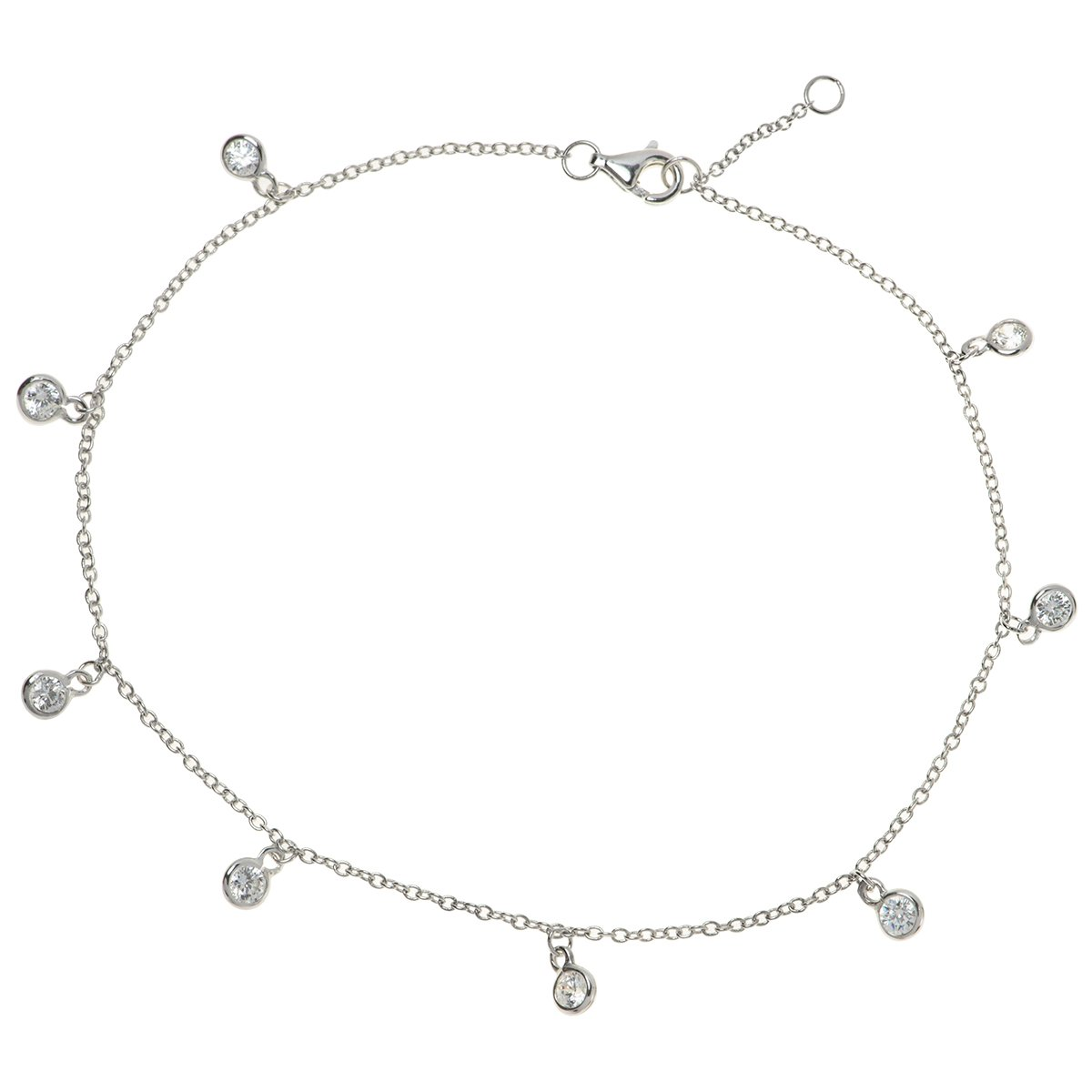 Rhodium On 925 Sterling Silver Round Bridal Wedding Clear Cz Crystal Dangle Charm Link Rolo Cable Chain Anklet Bracelet with Extender Lobster Clasp 9''