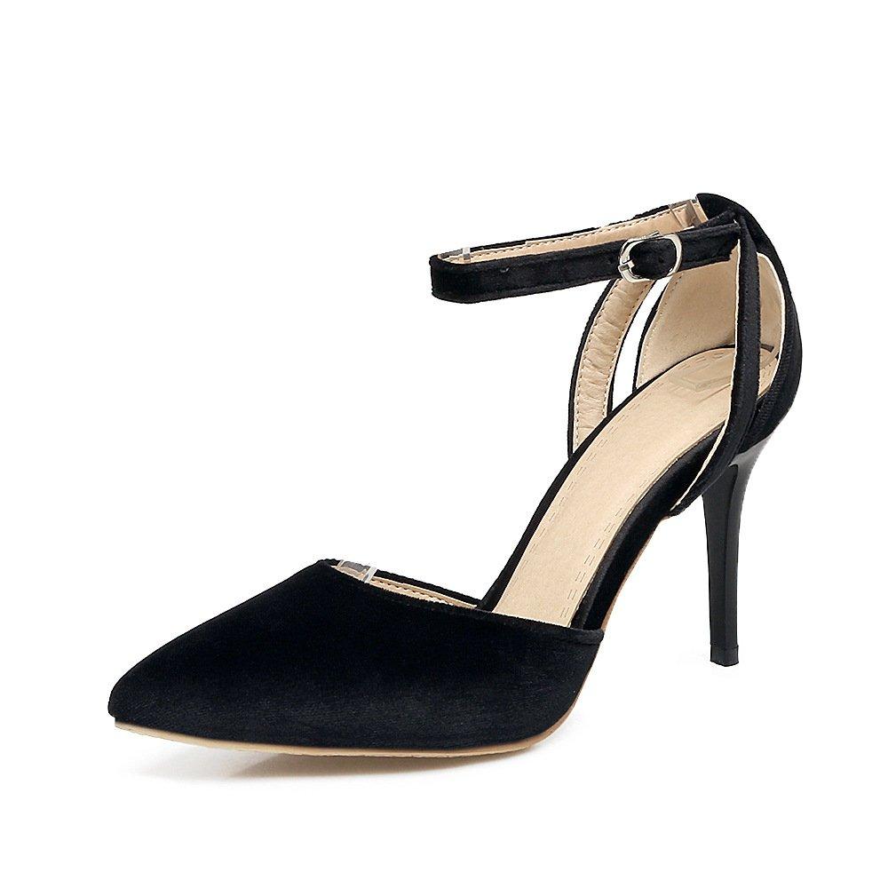QIN&X Damen Stiletto High Heels Spitzen Zehe Velvet Pumps Schuhe  45 EU|Black