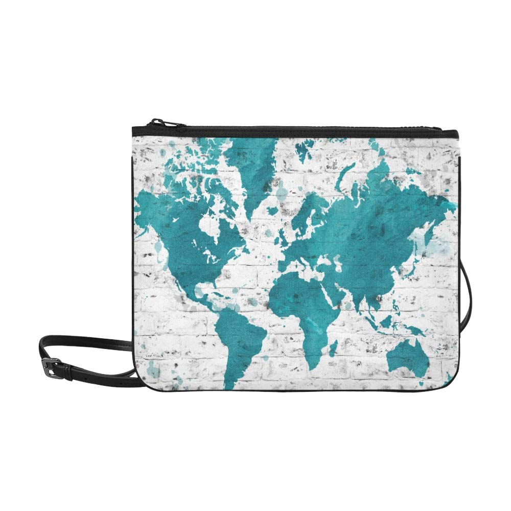 810e9af3c709 Blue World Map On Brick Wall Pattern Custom High-grade Nylon Slim Clutch Bag  Cross-body Bag Shoulder Bag  Handbags  Amazon.com