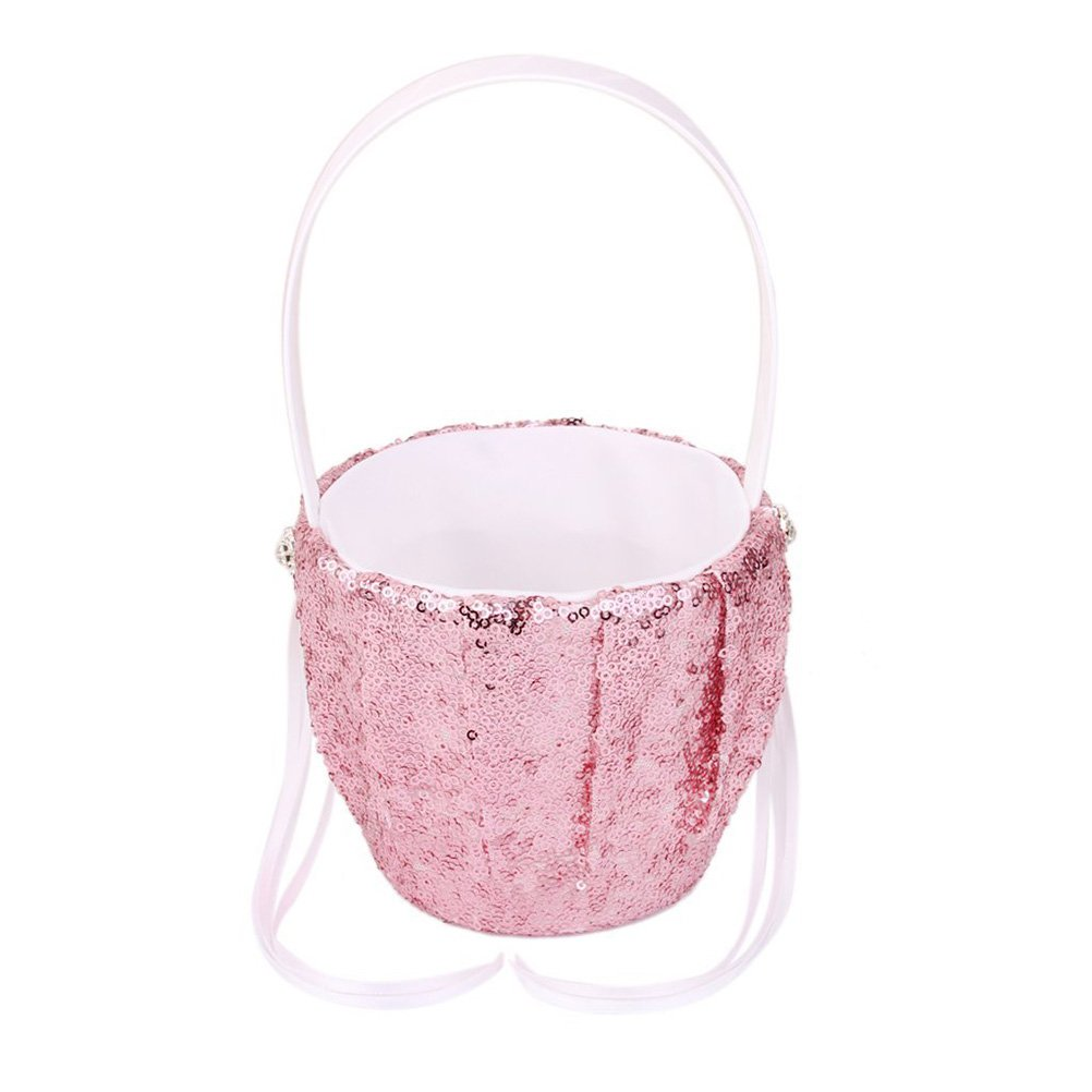 Tinksky Wedding Flower Girl Basket Flower Basket with Fashion Sequin Design (Pink)