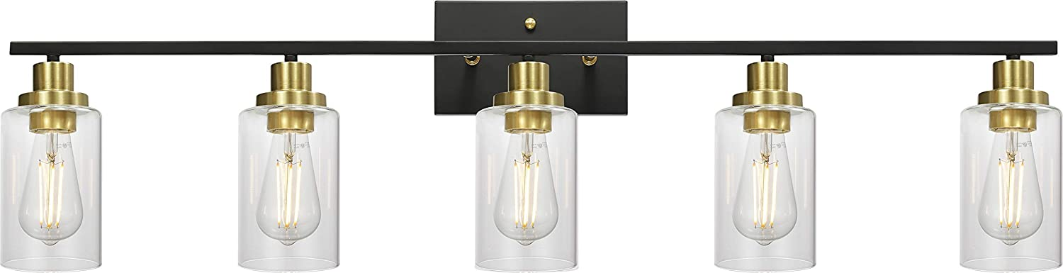 5-Light Bathroom Vanity Light Brass and Black Finish with Clear Glass Shade, Industrial Light Fixtures Wall Mount for Mirror Cabinets Bathroom Vanity Table, 40 Inches Length