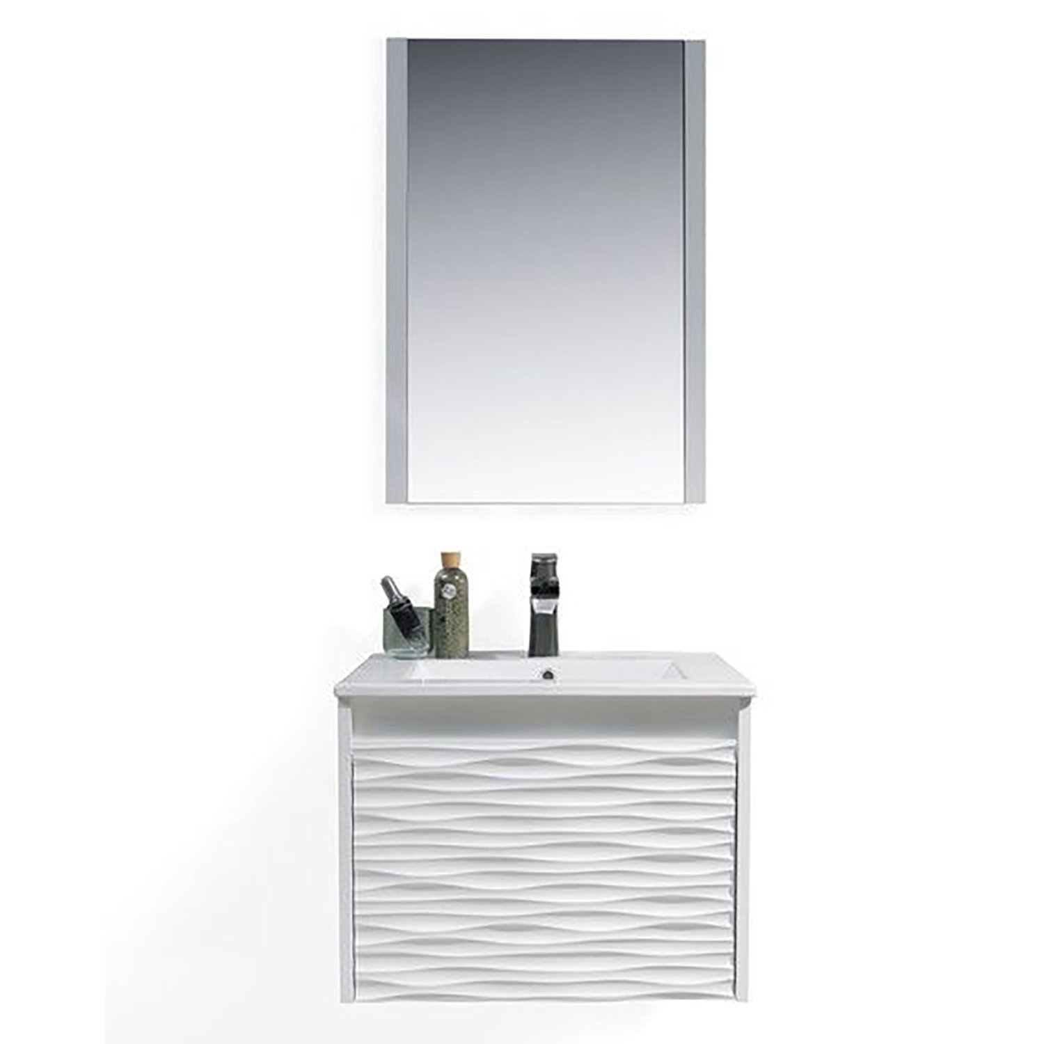 BLOSSOM 008-24-01-NC Paris 24'' Vanity Set with Acrylic Top-Mount Basin & Mirror Glossy White