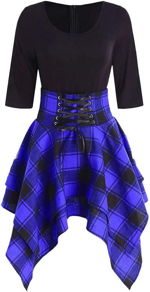 Vestito Lungo Estivo Donna Corto Davanti Girocollo Sasstaids Mini Dress Mezza Manica Gonna Donna Elegante Abito Donna Scozzese