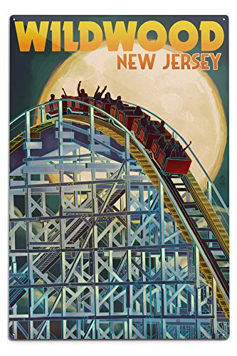 Wildwood, New Jersey - Roller Coaster and Moon (12x18 Aluminum Wall Sign, Wall Decor Ready to Hang) (Best Roller Coasters On The East Coast)