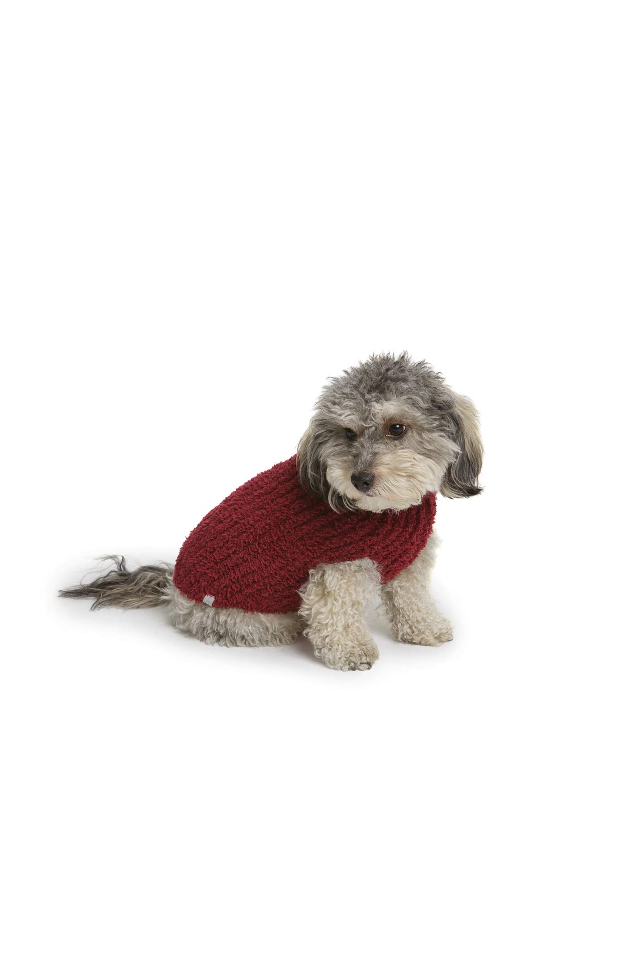 Barefoot Dreams CozyChic Ribbed Pet Sweater, Dog Clothes- Cranberry by Barefoot Dreams
