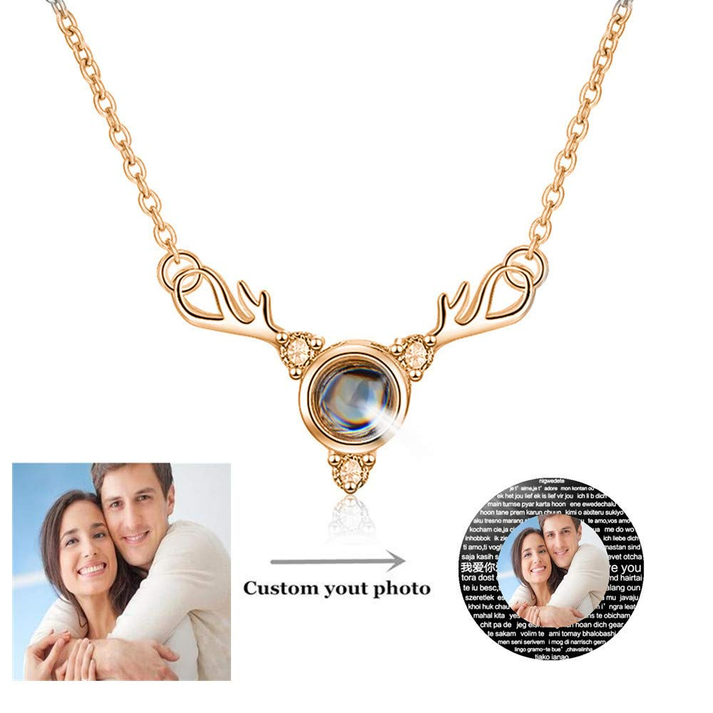 - set adil Custom Photo Projective Necklace I Love You Symbol of Steadfast The Memory of Love Different Languages for I Love U