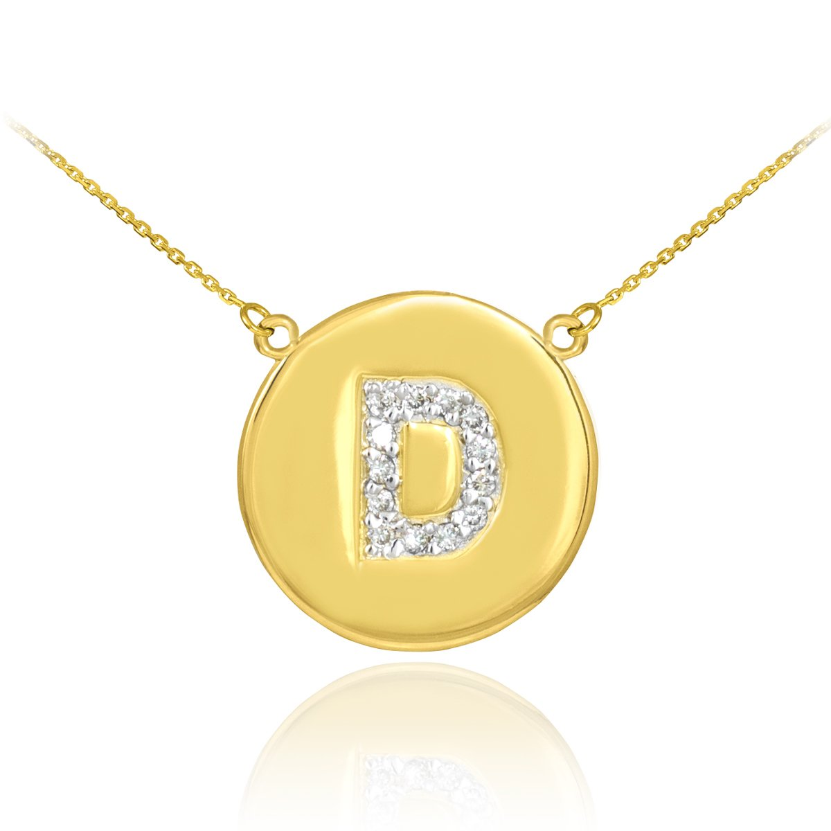 Fine 14k Yellow Gold Initial ''D'' Diamond Disc Initial Necklace (22 Inches)
