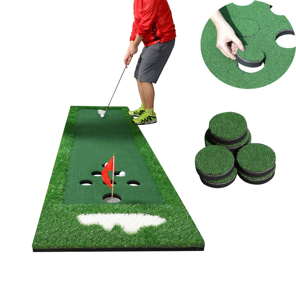 SPRAWL Portable Golf Green Putting Practice Mat Golf Beer Pong Game Set with Golf Hole Covers Carrying Case for Indoor Outdoor Party – 2.1 ft x 9.5 ft
