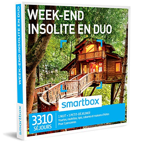 SMARTBOX-Coffret-Cadeau-homme-femme-couple-Week-end-insolite-en-duo-ide-cadeau-3310-sjours-1-nuit-insolite--1-petit-djeuner-pour-2