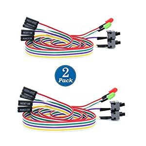 SiyuXinyi Computer Host Switch Line PC Case Power Push Button Cable ATX Computer On/Off & LED ATX Desktop Computer Case Motherboard On/Off Reset Switch Line Restart Power Supply (2 Pack)