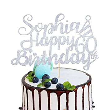 Party decorations. 50th birthday party Any Glitter Colour 50th Birthday Custom Name and Any Ages Cake topper