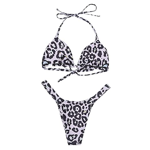 c1ea0f2c8eeeb Women s Two Piece Bikini Leopard Print High Neck Halter Padded High Waisted  Triangle Swimsuits Set (