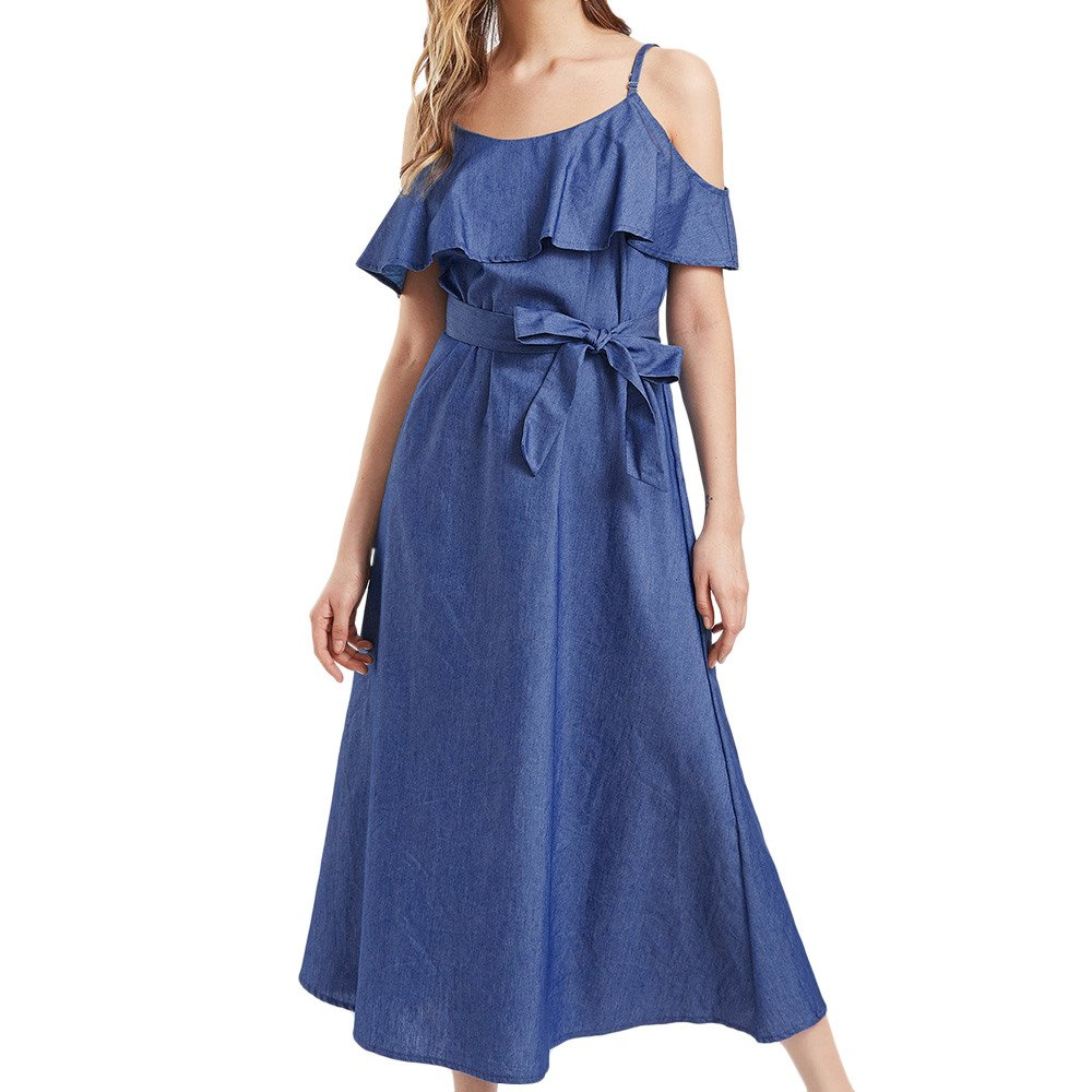 iLUGU Slash Neck Sleeveless Midi Dress for Women Bow-Belt A-Line Shoulder Strap Christmas Dresses for Women
