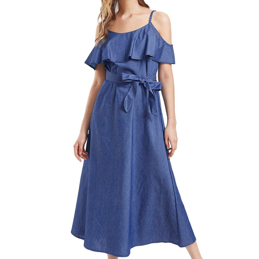 Nmch Women Sexy Off The Shoulder Ruffles Maxi Dress with Belt Camisole Denim Dress Casual Long Dresses 2019 (Blue,XL)