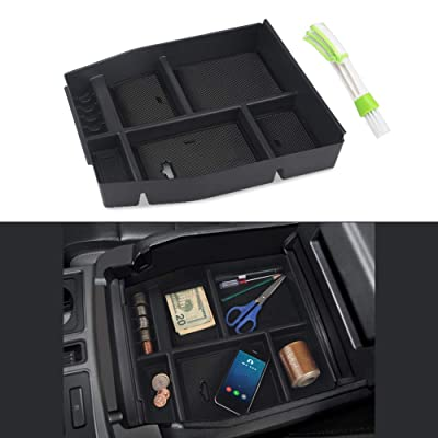 VANJING Center Console Organizer Tray Compatible for 2015 2016 2020 Ford F150 Accessories Armrest Box Secondary Storage with A Car Cleaner Brush: Automotive