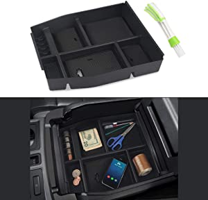 VANJING Center Console Organizer Tray Compatible with 2015 2016 2017 Ford F150 Accessories Armrest Box Secondary Storage with A Car Cleaner Brush