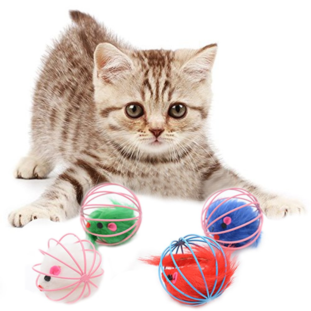 Panghuhu88 6.2CM False Mouse in Rat Cage Ball Playing Toys for Pet Cat Kitten