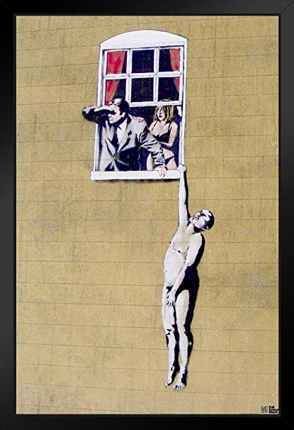Amazon com: Pyramid America Banksy Naked Man Hanging from