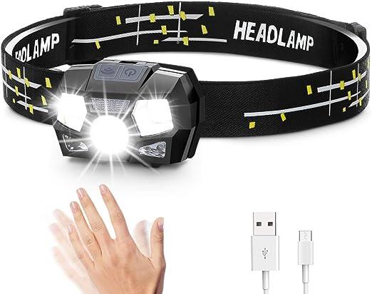 SGODDE Linterna Frontal LED USB Recargable S/úper Brillante Luz para Cabeza 5 Modos Impermeable Mini Peso Liger