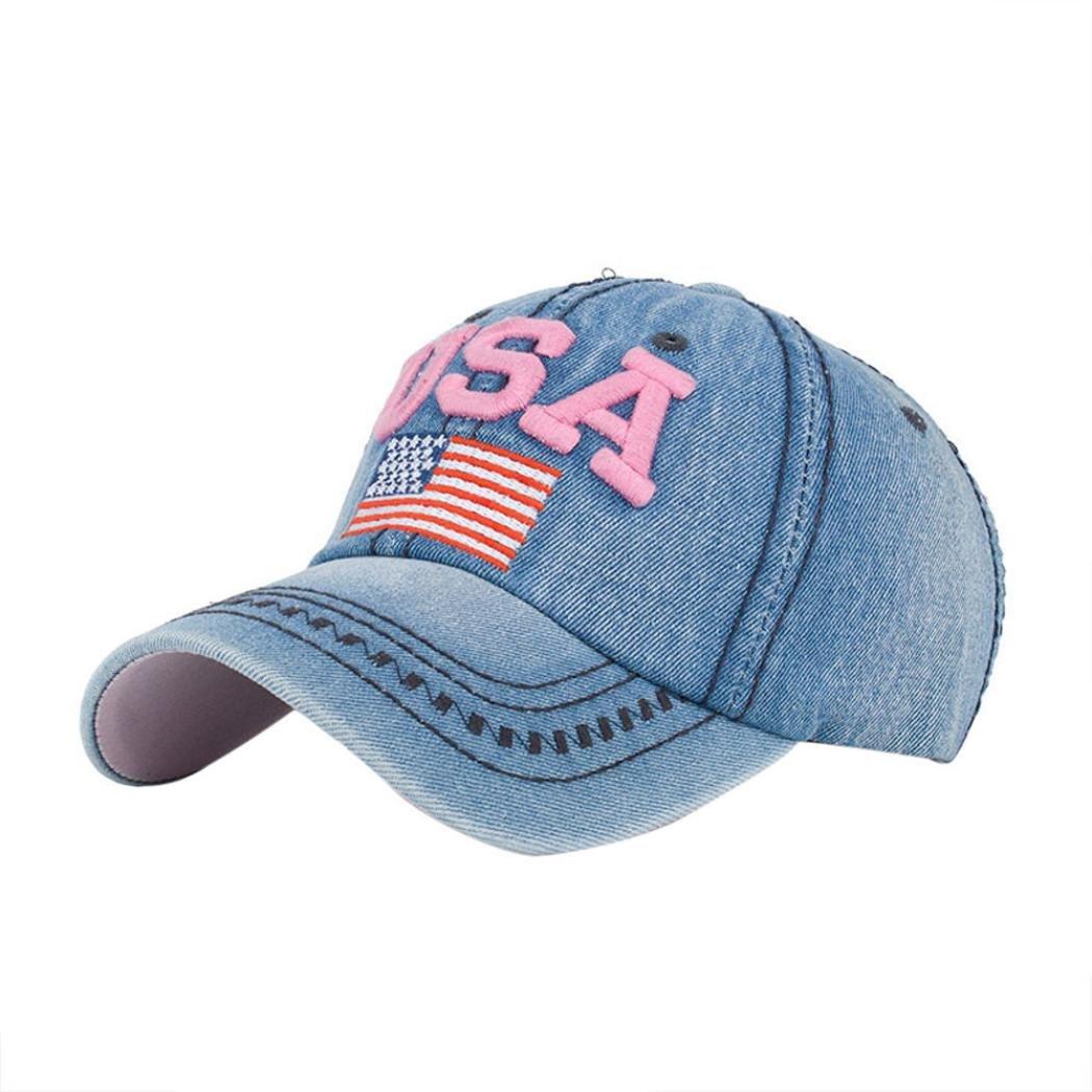 6e1b13d6e Gorras de Beisbol ❤️Amlaiworld Hombre Mujer Gorra de béisbol USA Rhinestone  Denim Viseras Gorra de Golf Sombrero Plano de Hip Hop Snapback Niños niñas  ...