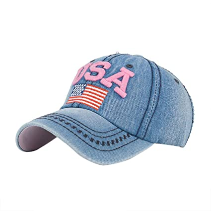Gorras de Beisbol ❤️Amlaiworld Hombre Mujer Gorra de béisbol USA Rhinestone  Denim Viseras Gorra de 5a451a9ee5a