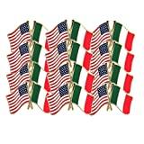 7/8 Inch American and Italian Flag Lapel Pin - Package of 12, Poly Bagged