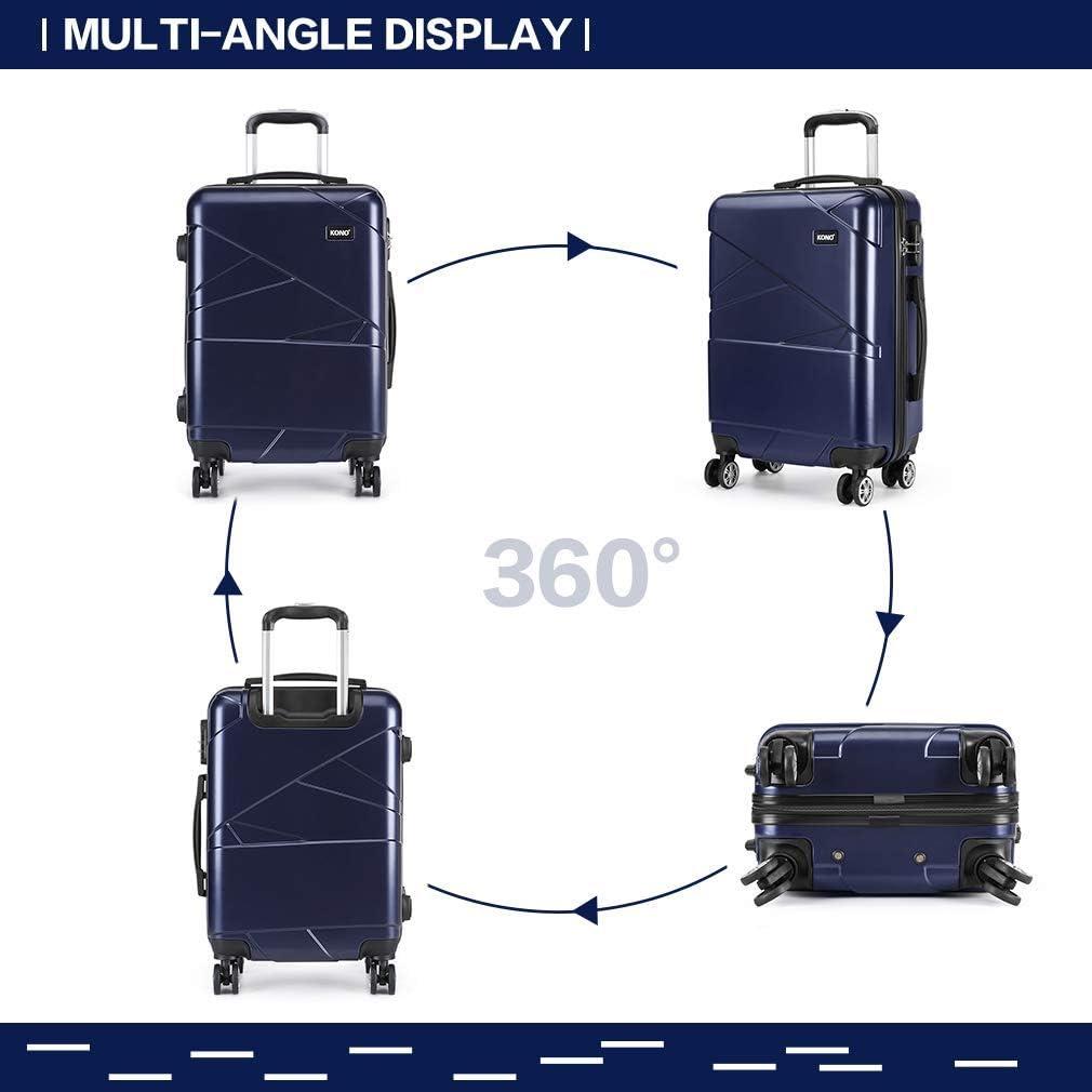 Kono Ensembles de valises rigides en Alliage l/éger /à 4 Roues en ABS pour Voyage daffaires et Valise Trolley Ensemble 3 pi/èces Noir