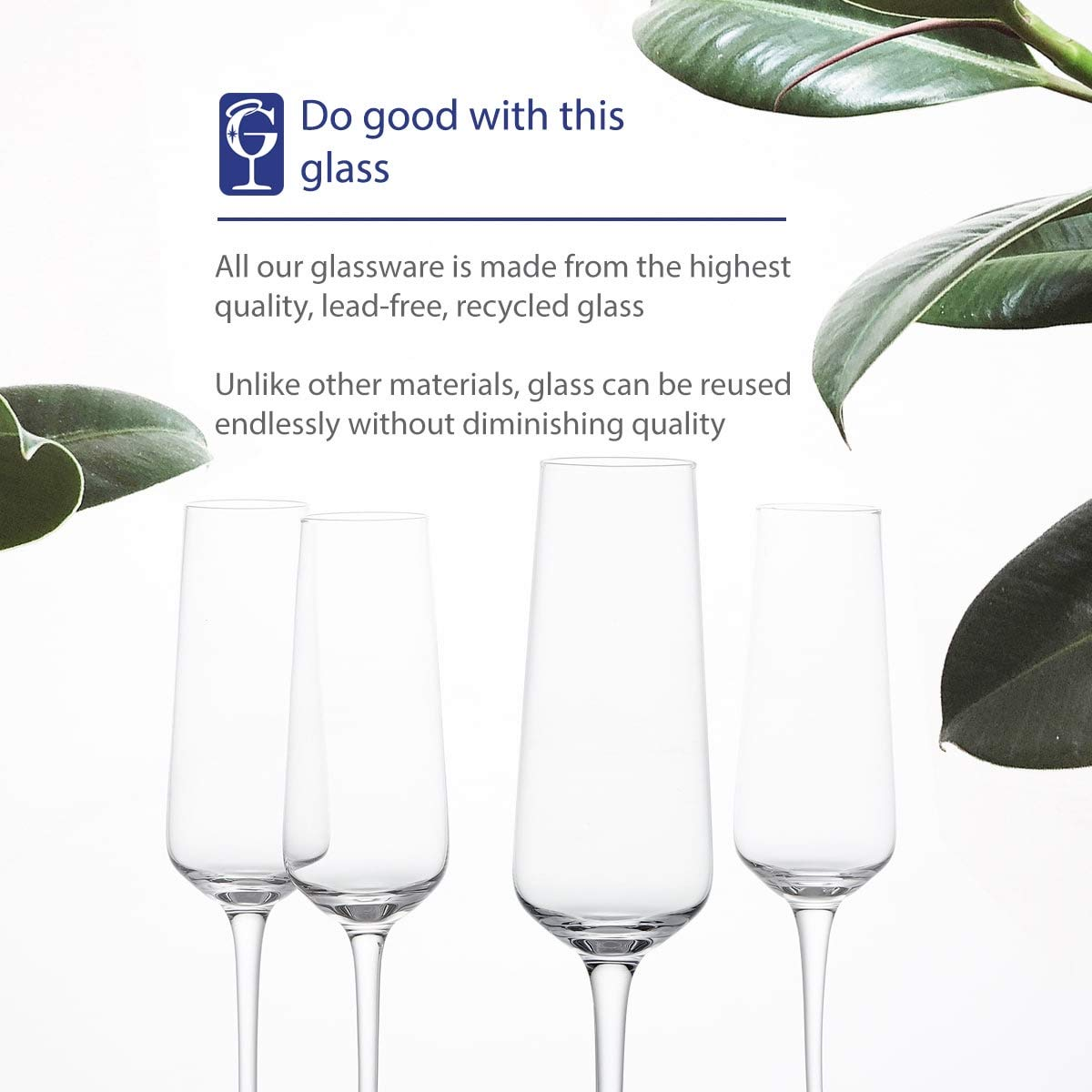 GoodGlassware Champagne Flutes (Set Of 4) 8.5 oz - Crystal Clear Clarity, Classic and Seamless Tower Design - Lead Free Glass, Dishwasher Safe, Quality Sparkling Wine Stemware Set by Vintorio (Image #5)