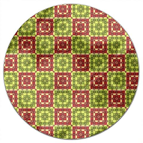 Squared Ornamental Tile Round Tablecloth: Small Dining Room Kitchen Woven Polyester Custom Print (Squared Round Dining Room Table)