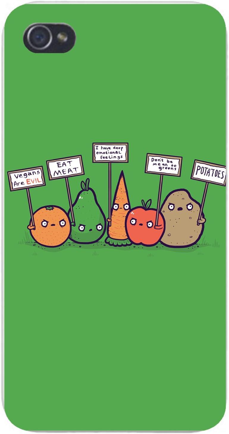 Apple iPhone Custom Case 5 / 5S White Plastic Snap On - Protesting Vegans Funny Vegetables w/Protest Signs Against Vegans