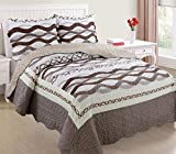 Ramano Collections 3 Piece Soft & Luxury Reversible Quilt Set | Wood Brown Waves Design - King Size