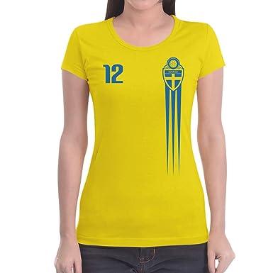 f1639ec9df65 Schweden Fan-Shirt für Frauen Fußball WM Fanartikel Damen T-Shirt Slim Fit   Amazon.de  Bekleidung