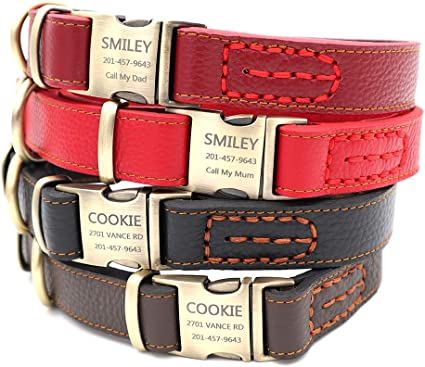 Red Leather Dog Collar Custom Name Dog Collars Large Leather Dog Collars