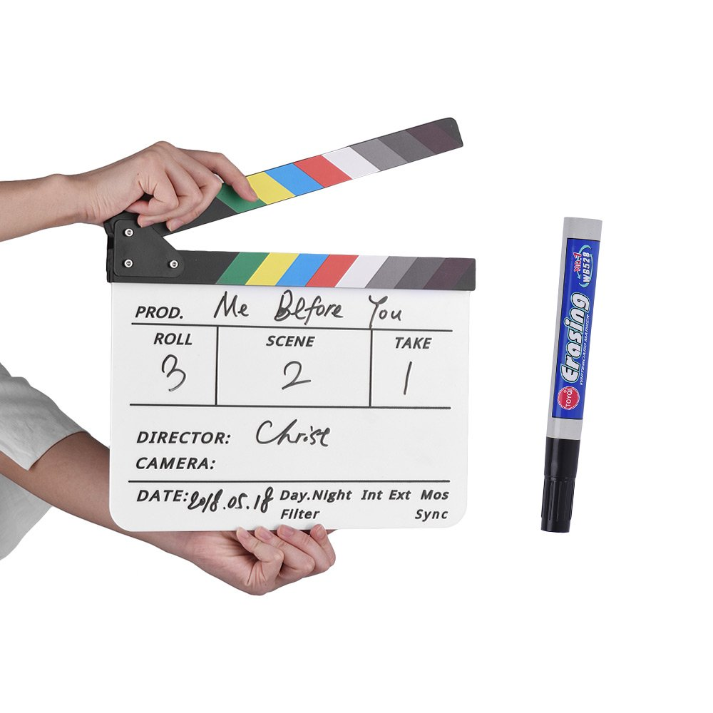 Andoer Professional Acrylic Clapboard Dry Erase TV Film Movie Director Cut Action Scene Clapper Board Slate with Marker Pen Eraser Andeor