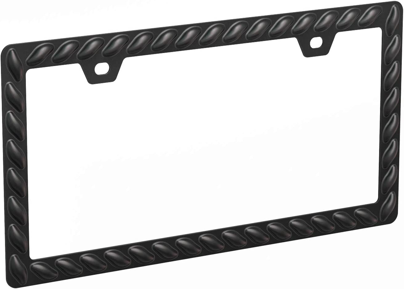 Pack of 2, Black Sgooky 3D License Plate Frame Lasso Pattern License Plate Holder with Extra Heavy Powder Coating